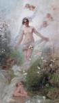 Gemälde Alexander Koester Frühling Akt Erotik Nymphe Putti Kirschblüte Schleier Jugendstil Impressionismus Bild 2