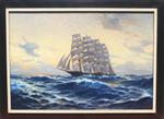 Gemälde Gemälde Hans Bohrdt Segelschiff Viermaster Marine Wellen Meer Nordsee Atlantik Mond-Nacht sailing ship veliero