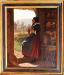 Gemälde Hermann Sondermann Mädchen Tracht Stricken Wolle Küche Tonschale Keramik Düsseldorf Rheinland knitting