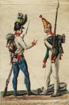 Aquatinta Vernet Uniform Freiheitskriege Napoleon Österreich Rußland Russia Garde Grenadiermütze Pompon Bajonett Affe Tornister 001