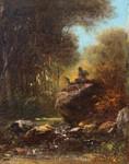 Gemälde Alois Bach Eschlkam Satyr Faun Ziegenbock Wald Romatik Spitzweg Schleich Bild 2