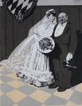 Gouache Johann Baptist Maier Meggendorfer Blätter Hans Ibe Hochzeit Hochzeiter Braut Bräutigam Brautkleid Brautstrauß Frack Zylinder Standesamt München Wappen Münchner Kindl Karikatur 002