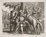 Kupferstich Francis Barlow Aesop Fabel Esel Donkey Hund Dog Papagei Stock Eifersucht Jealous Chien