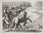Kupferstich Francis Barlow Aesop Fabel Esel Donkey Löwe Lion Löwen-Fell Verkleidung fremde Federn  Knüppel