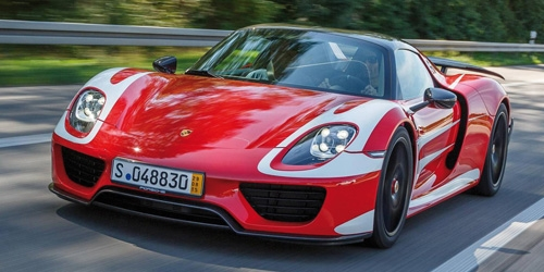 PORSCHE 918 SPYDER - 2013 - W/ WEISSACH PACKAGE - RED W/ WHITE STRIPES