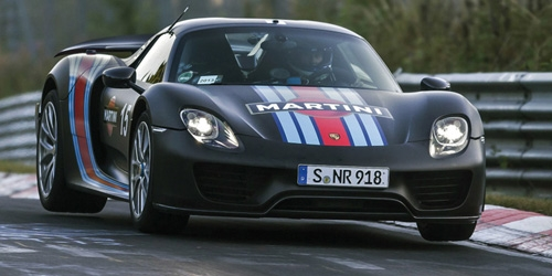 PORSCHE 918 SPYDER - 2013 - W/ WEISSACH PACKAGE - MATT BLACK W/ MARTINI STRIPES