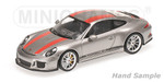 PORSCHE 911 R - 2016 - SILVER W/ RED STRIPES AND BLACK WRITING 001