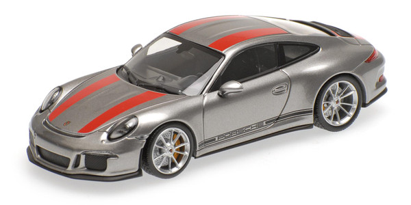 Porsche 911 R - 2016 - Minichamps 410066222 SILVER W/ RED STRIPES AND W/ BLACK WRITING 1:43