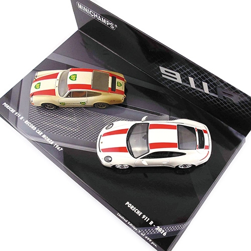 2-CAR SET - PORSCHE 911 R 2016 WHITE / PORSCHE 911 R 1967 RECORD CAR L.E. 499 pcs. – image 2