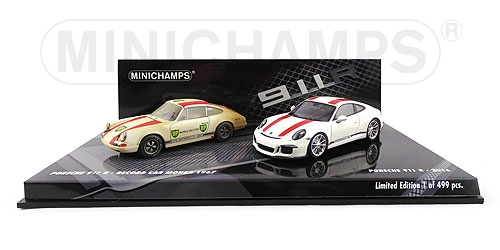 2-CAR SET - PORSCHE 911 R 2016 WHITE / PORSCHE 911 R 1967 RECORD CAR L.E. 499 pcs. – Bild 1