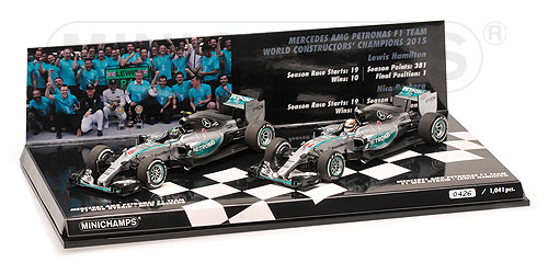 2-CAR SET - MERCEDES AMG PETRONAS FORMULA ONE TEAM - CONSTRUCTOR WORLD CHAMPION 2015 - F1 W06 HYBRID – Bild 1
