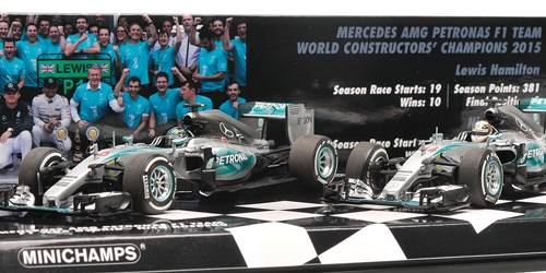 2-CAR SET - MERCEDES AMG PETRONAS FORMULA ONE TEAM - CONSTRUCTOR WORLD CHAMPION 2015 - F1 W06 HYBRID – Bild 2