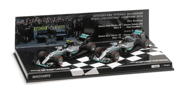 2-CAR SET - MERCEDES AMG PETRONAS F1 TEAM W07 HYBRID - CONSTRUCTOR WORLD CHAMPION - 2016