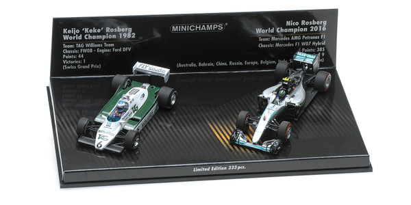 2-CAR SET - WILLIAMS FORD FW08 1982/MERCEDES AMG PETRONAS F1 TEAM 2016 - KEKE/NICO ROSBERG