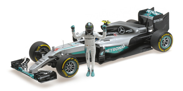 MERCEDES AMG PETRONAS F1 TEAM - F1 W07 HYBRID - ROSBERG - WORLD CHAMPION 2016 - W/ FIGURINE