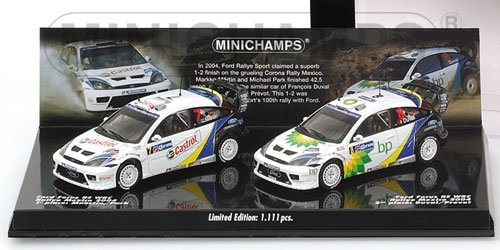 2-CAR SET - FORD FOCUS RS WRC - MAERTIN/PARK - DUVAL/PREVOT - DOUBLE WINNERS RALLY MEXICO 2004 L.E. 1111 pcs.