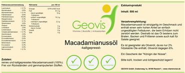 Macadamianussöl 500ml – Bild 3