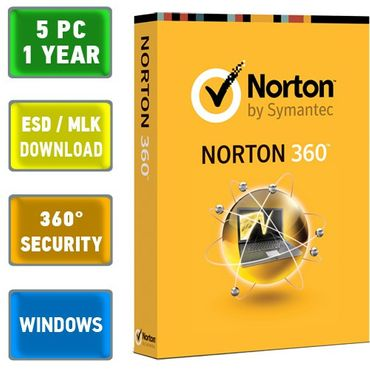 Norton 360 (5 PC, 1 Jahr), Vollversion, alle Sprachen, alle Regionen