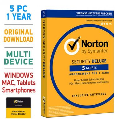Norton Security 3.0 Deluxe 5 PC Geräte 1 Jahr 2020 Mac Android