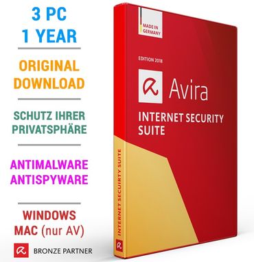AVIRA INTERNET SECURITY 3 PC 1 Jahr 2018