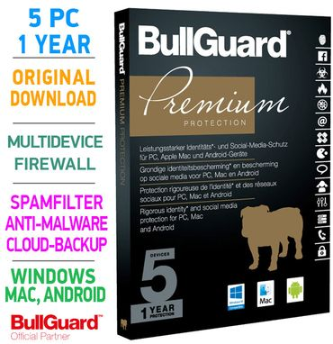 Bullguard PREMIUM PROTECTION 2018 Multidevice 5 PC 1 Jahr - TOP! – Bild 1