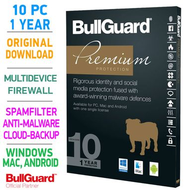 Bullguard PREMIUM PROTECTION 2020 Multidevice 10 PC 1 Year- TOP!