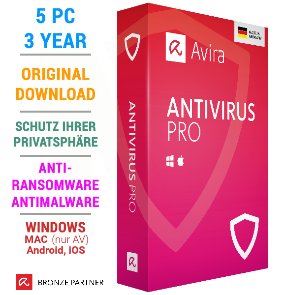 Avira Antivirus Pro 2019 5 PC 3 Years Mac Android