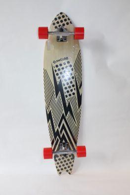 Street Surfing Longboard Fishtail black + rote Wheels