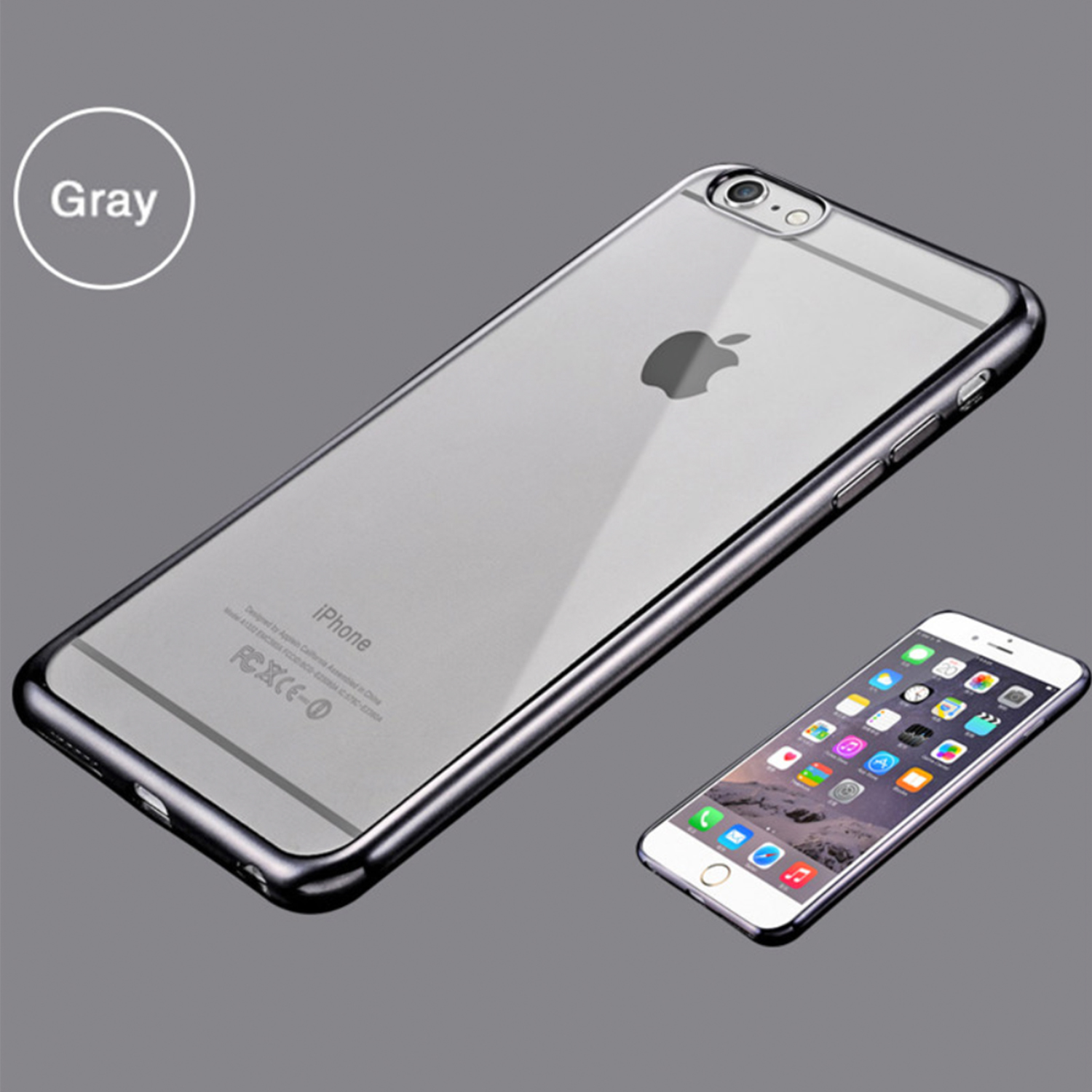 noxcase iphone 6 6s schutz h lle soft cover case motiv grau slim bumper tpu ebay. Black Bedroom Furniture Sets. Home Design Ideas