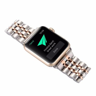 Yemota Pro Apple Watch 42 mm Stainless Steel Armband - Silber / Rosé  - Thumb 2