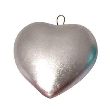 Lacquer Herzanhänger metallic silber  8 cm x 6,5 cm