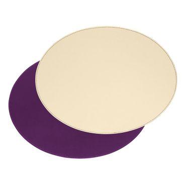 FREEFORM 1 Stück Tischset oval Pflaume / Elfenbein aus Kunstleder 45x35 cm