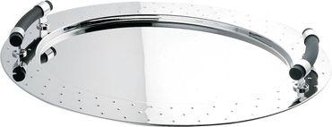 ALESSI Tablett oval aus Edelstahl mit Griffen