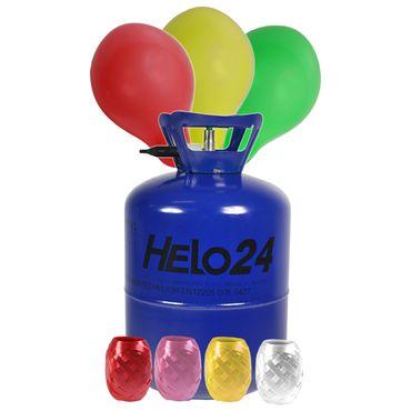 Helium Ballongas ca. 0,25 m³ Heliumflasche inkl 30 Luftballons Gas RUND BUNT – Bild 1