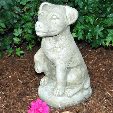 Steinfigur Hund Sandstein Gartenfigur Statue Deko Steinguss (H02) – Bild 2