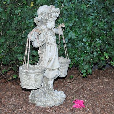 Steinfigur Mädchen Sandstein Gartenfigur Statue Deko Steinguss (362) – Bild 7