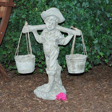 Steinfigur Junge Sandstein Gartenfigur Statue Deko Steinguss (363) – Bild 1