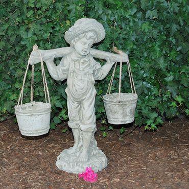 Steinfigur Junge Sandstein Gartenfigur Statue Deko Steinguss (363) – Bild 2