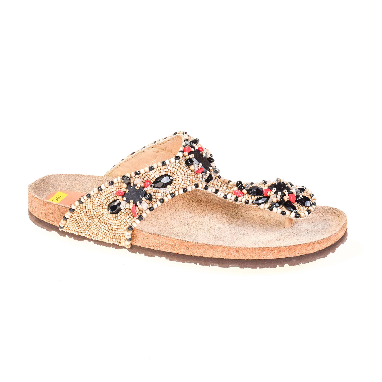 maliparmi damen sandale flip flop leder steinbesatz ebay. Black Bedroom Furniture Sets. Home Design Ideas