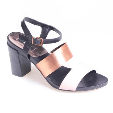 Zindacal Damen Pumps Sandalette Leder Schwarz Bronze Rosa  – Bild 1
