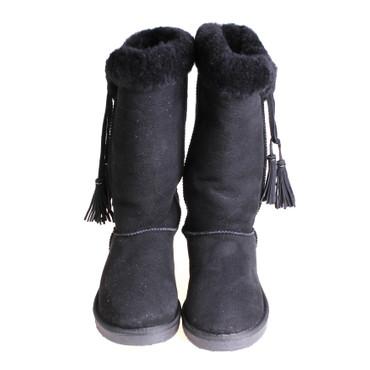 Jina Pia Tozzi Damen Winterstiefel Boots Wildleder Schwarz – Bild 2