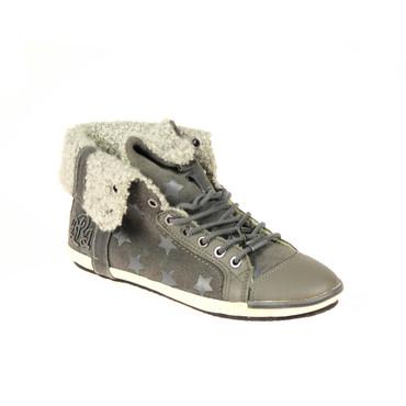 Replay Damen Sneaker High Top Leder Grau gefüttert – Bild 1