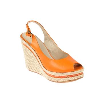 Frida Damen Keilsandaletten Wedges Leder Orange – Bild 1
