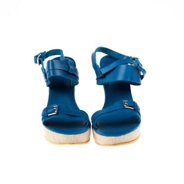 U.S. Polo Damen Keilsandaletten Wedges Leder Blau – Bild 2
