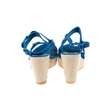U.S. Polo Damen Keilsandaletten Wedges Leder Blau – Bild 3