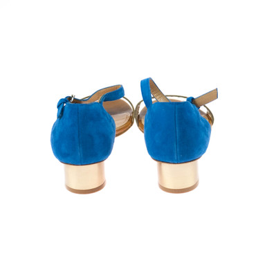 Lottusse Damen Sandale Leder Blau Braun Gold – Bild 3