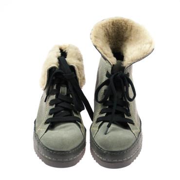 Manas Damen Sneaker Wildleder Grau gefüttert – Bild 2