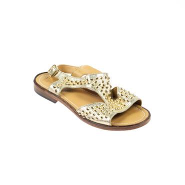 We Are Damen Sandalen Leder Gold mit Nieten – Bild 1