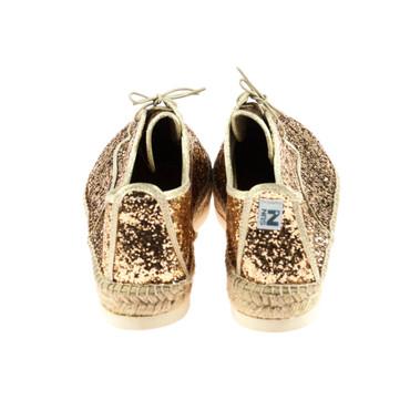 Sun-Z Damen Halbschuh Espandrillos Textil Gold glitzer – Bild 3
