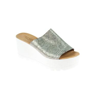 Forme Di Cuoio Damen Sandale Leder Silber  – Bild 1
